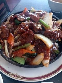 牛肉と季節野菜の牡蠣ソース炒め