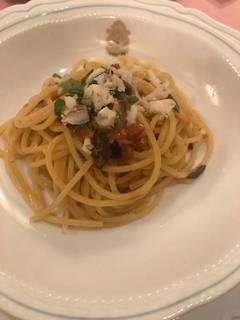 白身魚とオリーブ、ドライトマトのペペロンチーノ スパゲティ