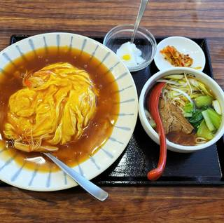 天津飯と小ラーメンセット