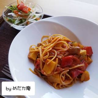 生麩とグリル野菜のスパゲッティ