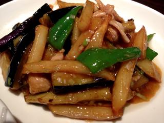 茄子とジャガ芋のピリ辛炒め