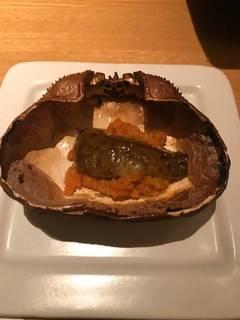 蟹味噌の甲羅焼
