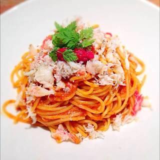 ワタリガニの濃厚トマトソース スパゲッティ