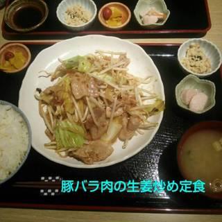 豚バラ肉の生姜炒め定食