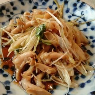前菜小皿 つぶ貝とねぎの炒めもの