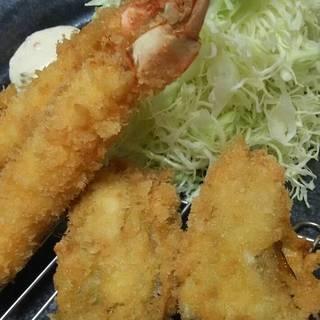 海老とカキ定食