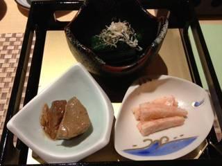 前菜3種(鮪煮つけ、お浸し、明太和え)