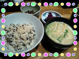 じゃこ御飯(御飯・汁・小鉢・漬物)