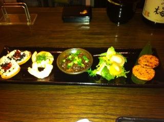 季節の前菜五種盛り合わせ or 神戸牛ミニステーキ