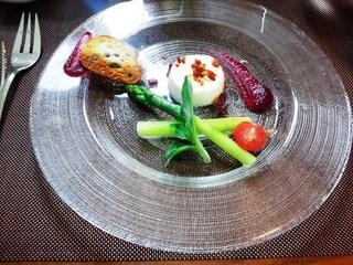 ベーコンのブラマンジェ アスパラガスのサラダ