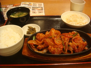 鶏のコチュジャン炒め定食