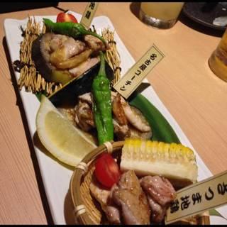 播州百日鶏炭焼き三種盛り