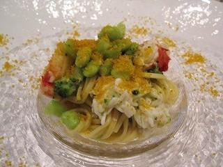 タラバ蟹 ブロッコリーと茶豆のタリオリーニ