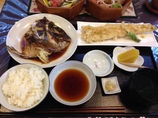 かぶと煮とあなご天ぷら御膳