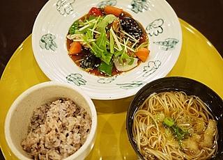 鯖の竜田揚げ黒酢野菜あんかけと豆乳温麺