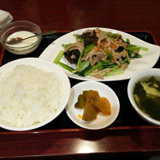 小松菜と豚肉炒め定食