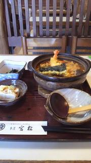 海老天入り味噌煮込み(きしめん)