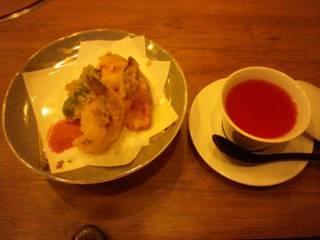 お昼のコース 揚げ物と茶碗蒸し