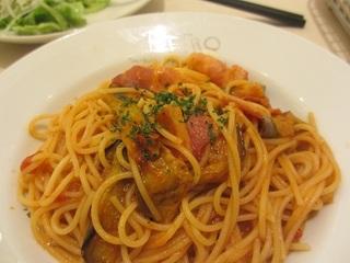 ナスとひき肉の辛味スパゲティ