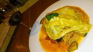 揚げナスとトロトロ卵のおいしいパスタ