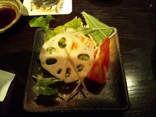 海老とレンコン水菜のシーザーサラダ