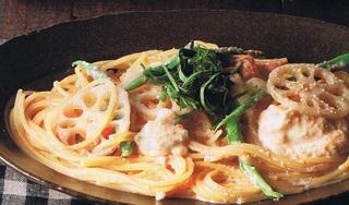 蓮根とクリームチーズの明太子パスタ