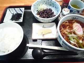 納豆御飯と小どんぶりのうどん