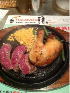 牛ランプステーキ&鶏もも肉のガレット