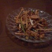 キューリの山椒味ピリ唐和え物