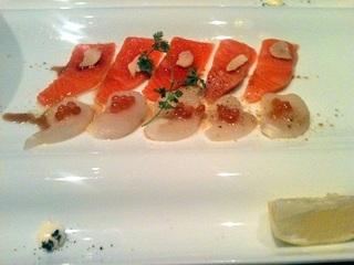 とろ鮭、いくら、貝柱の北海カルパッチョ