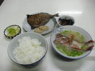 アラカブの味噌汁定食