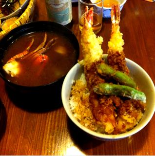 エビ天丼と漁師汁