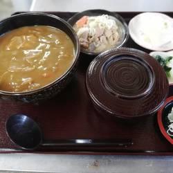 カレーうどんともつ煮のセット(Aセット)