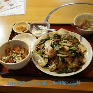 五目焼きそば(大盛)と半麻婆豆腐のランチセット