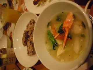 海鮮と春野菜の彩りあんかけおこげ 黒米入り