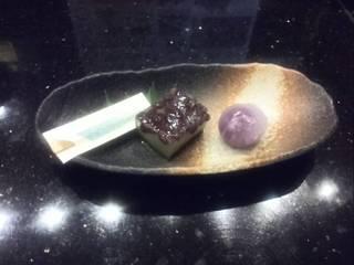 抹茶小豆羹と紫水晶