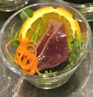 鹿児島県産鰹のたたき藁焼き 柚子胡椒とポン酢