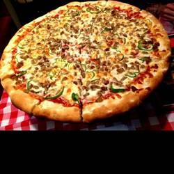 イタリアンソーセージとピーマンのピザ