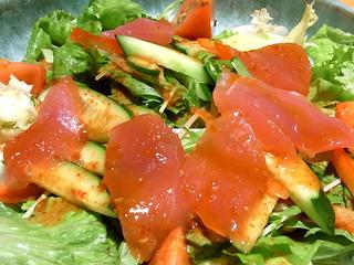 赤と緑のチョレギサラダ
