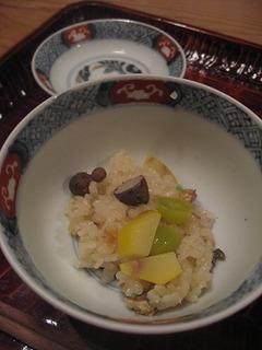 銀杏と鰻と栗とむかごの炊き込みご飯