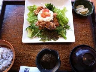鶏竜田揚げとポテトのねぎソースたっぷり野菜の定食