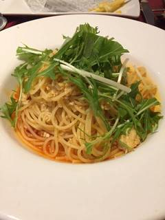 鶏挽肉と水菜のレッドペペロンチーノ