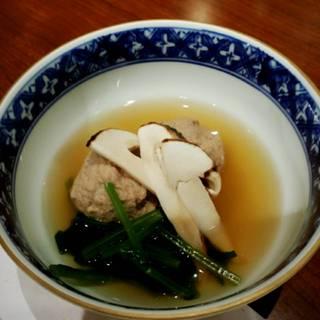 鴨のつくねと松茸の蒸し物
