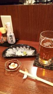カワハギ 薄造り(肝醤油)