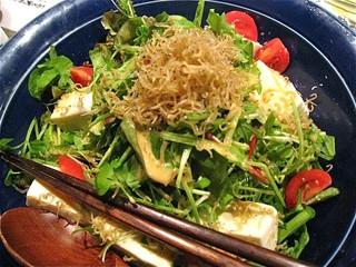 豆腐と揚げじゃこのパリパリ胡麻サラダ