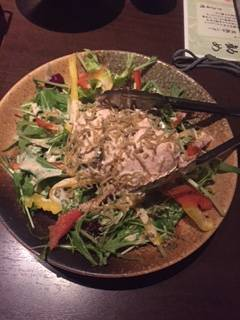 佐渡赤豆腐とジャコのサラダ