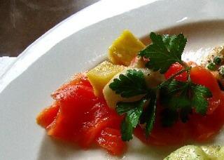サーモンと茸、さつま芋のマリネ