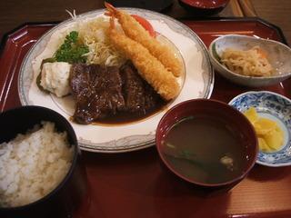 ステーキと海老フライ定食