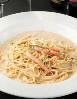 カニと蟹味噌のクリームスパゲッティ
