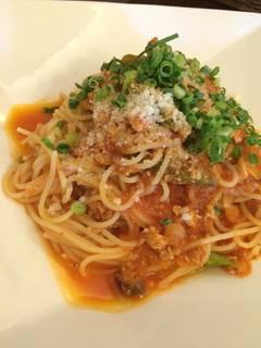 地鶏のラグー ごぼうと蓮根・椎茸のスパゲッティ